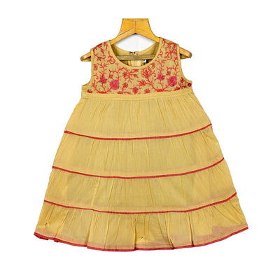 The Nesavu Frocks & Dresses Girls Traditional Embroidered Layered Cotton Casual Wear Frock Dress psr silks Nesavu 16 / Yellow / Cotton KGC20