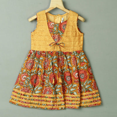 Gold Orange Floral Pattern Screen Print Cotton Dress - thenesavu