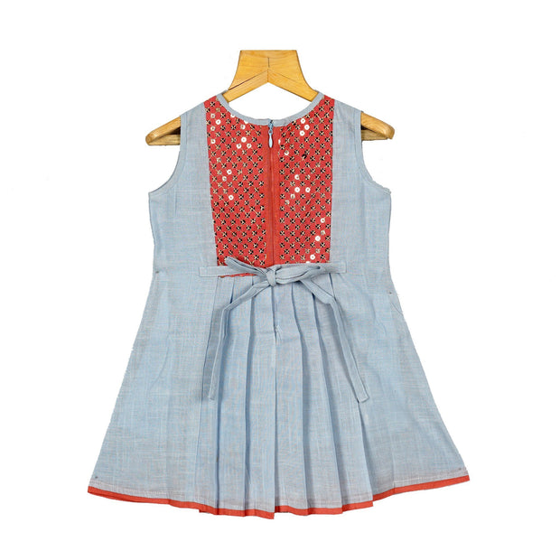 Gold Sequence Yoke Baby Girls Cotton Casual Party Wear A line Dress - thenesavu