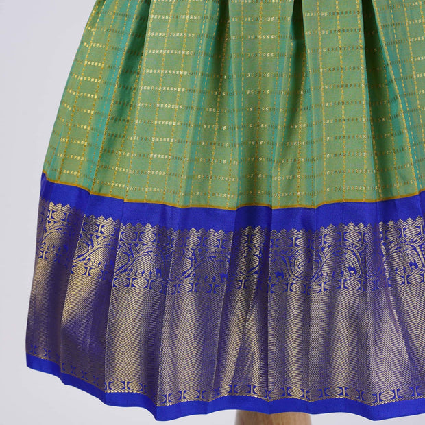 The Nesavu Frocks & Dresses Green Kanjivaram Saree Inspired Party Wear Kids Dresses psr silks Nesavu