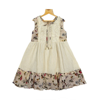 The Nesavu Frocks & Dresses Half White Fine Embroidered Yoke Girls Crush Cotton Casual Wear Dress psr silks Nesavu 16 / Off White KGC41
