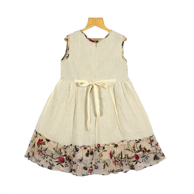 Half White Fine Embroidered Yoke Girls Crush Cotton Casual Wear Dress - thenesavu