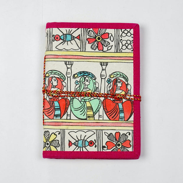 Papa Taka Journals & Diaries Hand painted Madhubani story design inspired cover locking diary and notebook psr silks Nesavu PNJ043
