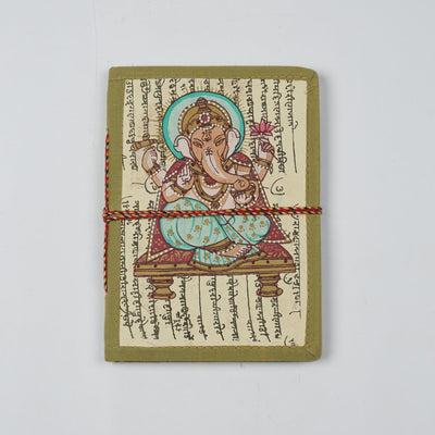 Papa Taka Journals & Diaries Hand painted miniature ganesha design inspired cover locking diary and notebook psr silks Nesavu PNJ041