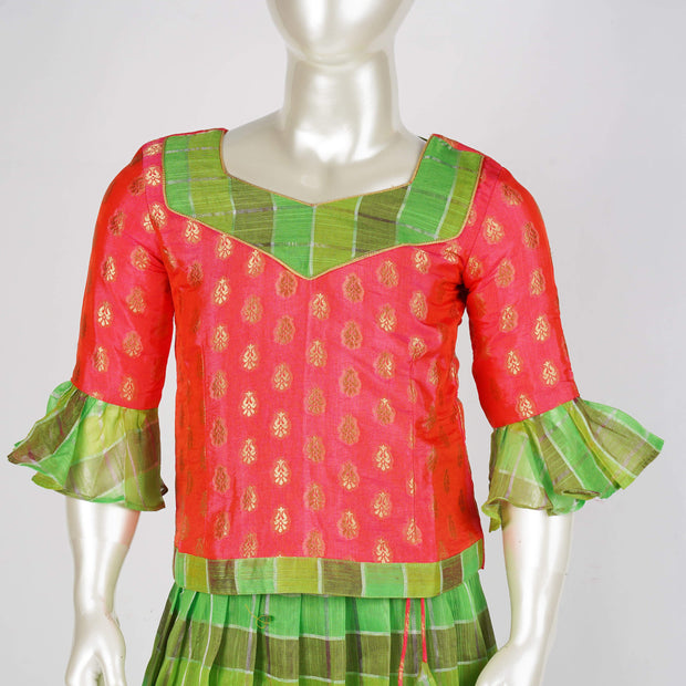 The Nesavu Pattu Pavadai Handmade Kids Pattu Pavadai Linen Silk With Contrast Combo With Ruffle Sleeves psr silks Nesavu