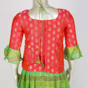 Handmade Kids Pattu Pavadai Linen Silk With Contrast Combo With Ruffle Sleeves - thenesavu