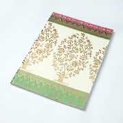 Handwoven Banarasi saree design inspired  screen print cover Journal Notebook - thenesavu