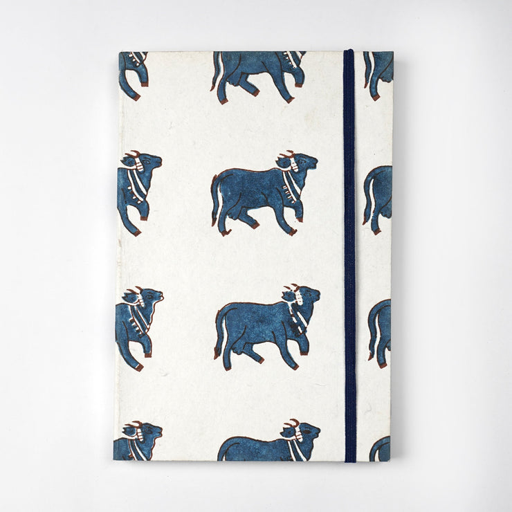 Papa Taka Notebooks Indian Holy Cow Indigo Fabric Inspired Printed Journal Notebook Diary psr silks Nesavu KG532