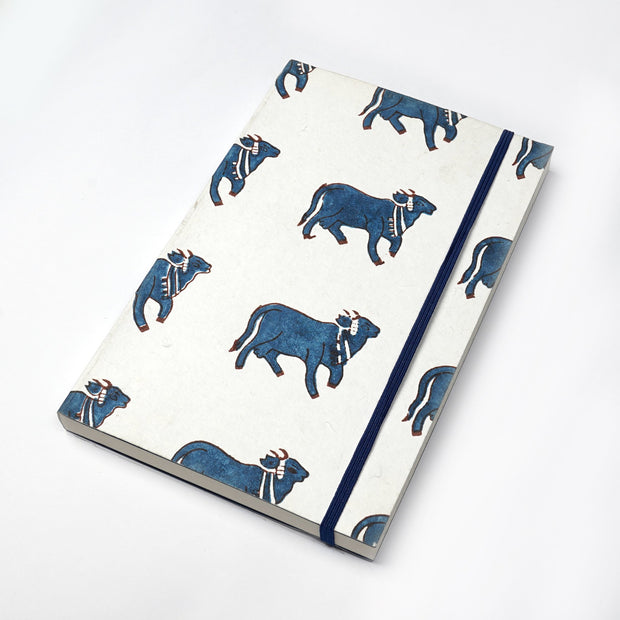 Indian Holy Cow Indigo Fabric Inspired Printed Journal Notebook Diary - thenesavu