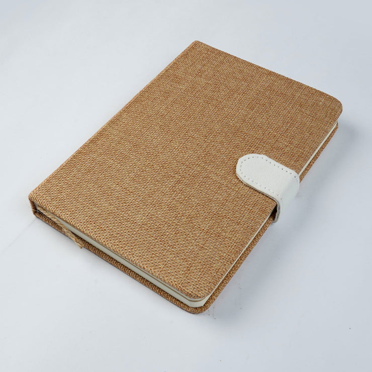 Papa Taka Notebooks Indian jute fabric note book cover handcrafted wood button lockable journal diary psr silks Nesavu