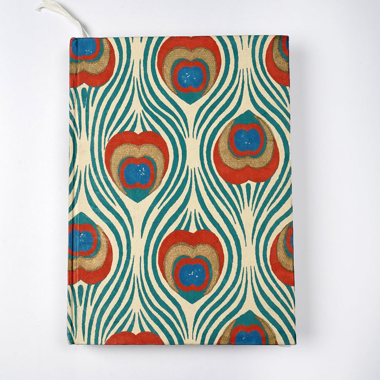 Papa Taka Notebooks Indian Peacock Feather Inspired Screen Printed cover Journal Notebook Diary psr silks Nesavu KG544