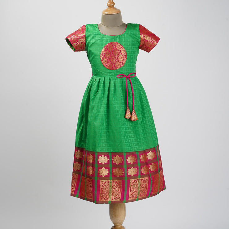 The Nesavu Frocks & Dresses Indian Pure Silk Inspired Designer Frocks for Kids psr silks Nesavu 0M-6M / lawngreen GFC108B