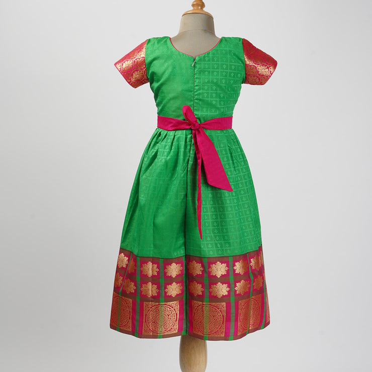 The Nesavu Frocks & Dresses Indian Pure Silk Inspired Designer Frocks for Kids psr silks Nesavu