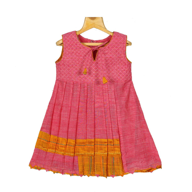 Indian Red Chanderi Silk Cotton Girls Casual Wear A-Line Frock Dress - thenesavu