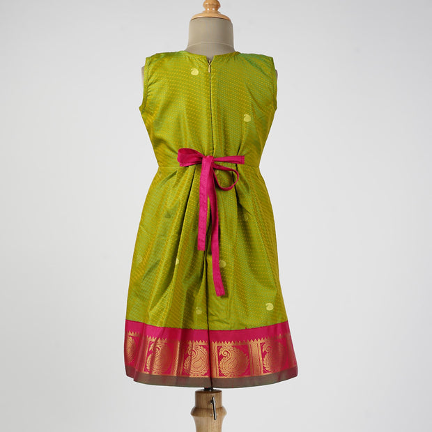 The Nesavu Frocks & Dresses Kanchipuram Pattu Party Wear Kids Frock With Korai Border psr silks Nesavu