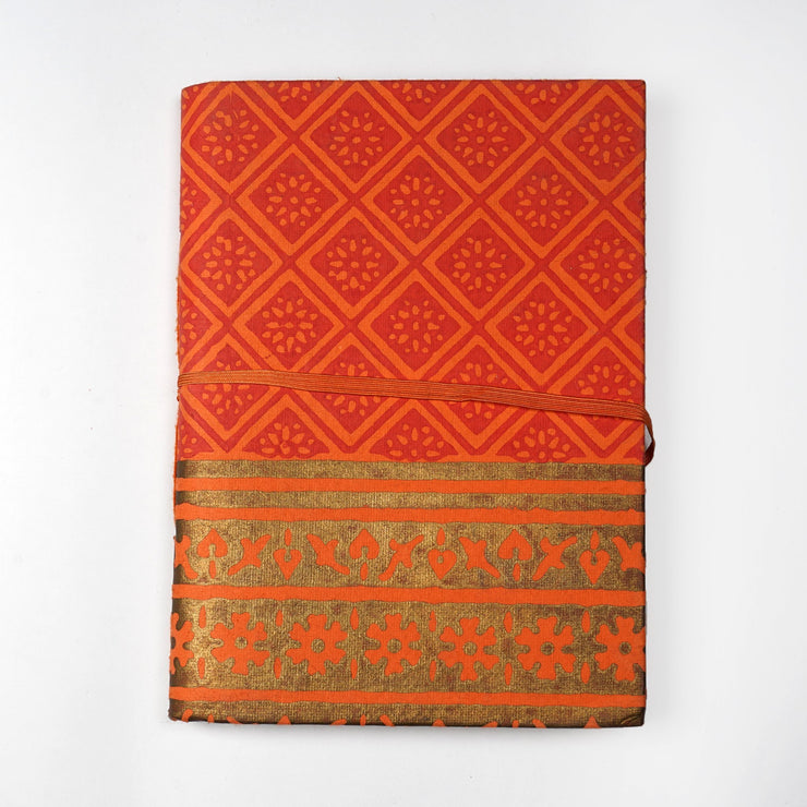 Papa Taka Notebooks Kanchipuram silk saree design inspired screen print cover Journal Notebook psr silks Nesavu KG446