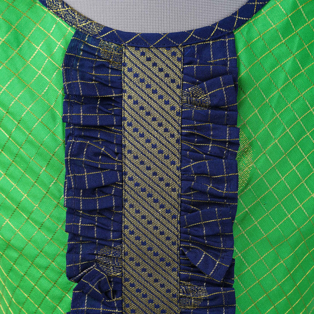 The Nesavu Frocks & Dresses Kanchivaram Saree Inspired Kids Party Wear Frock psr silks Nesavu