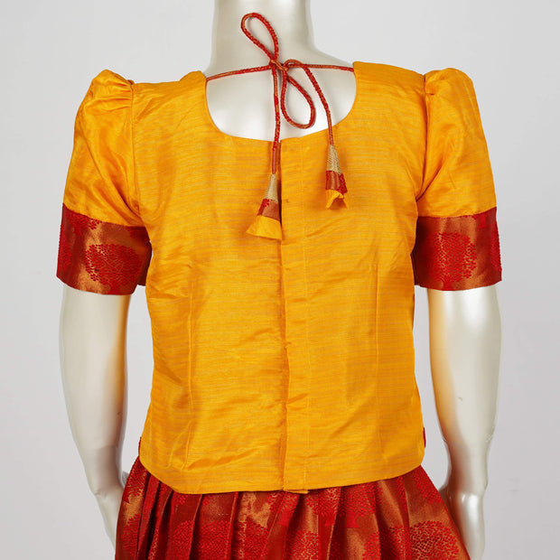 Kids Brocade Pattu Langa / Lehenga Traditional With Puff Sleeves and Handmade Tassels - thenesavu