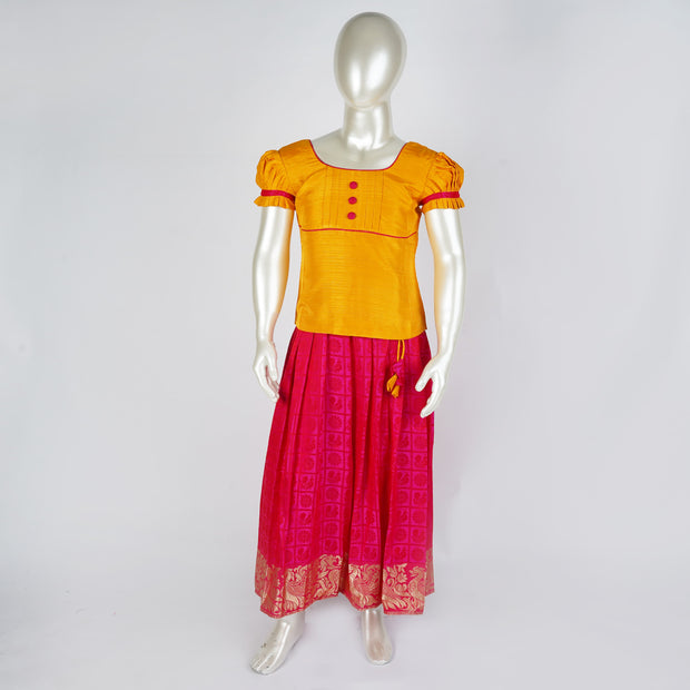 Kids Pattu Langa Blouse / Pattu Lehenga Pleasing Combo and Neck Yoke Embellishment - thenesavu