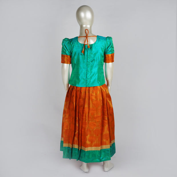 The Nesavu Pattu Pavadai Latest Pattu Parikini Taffeta Jaquard Puff & Cuff Sleeve Silk Skirt & Top Aqua / Orange psr silks Nesavu