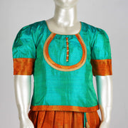Latest Pattu Parikini Taffeta Jaquard Puff & Cuff Sleeve Silk Skirt & Top Aqua / Orange - thenesavu