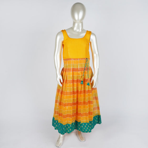 The Nesavu Pattu Pavadai Linen Silk Pattu Pavadai Sattai With Peplum Sleeves Butti Top and Knife Pleat Skirt psr silks Nesavu