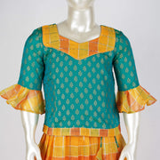 Linen Silk Pattu Pavadai Sattai With Peplum Sleeves Butti Top and Knife Pleat Skirt - thenesavu