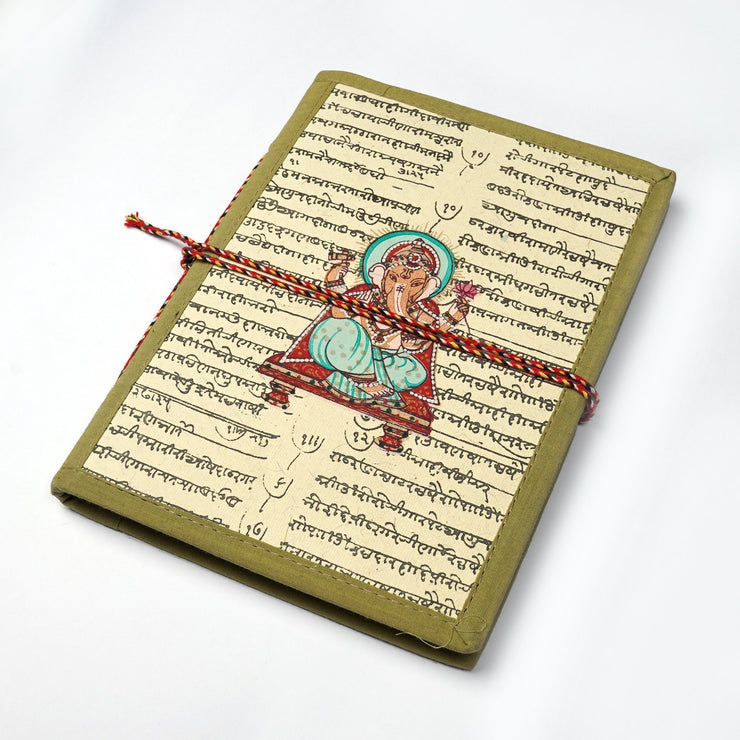 Papa Taka Notebooks Lord Ganesha Indian Miniature painting inspired Journal Notebook Diary psr silks Nesavu KG543