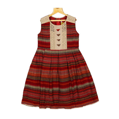 The Nesavu Frocks & Dresses Maroon Horizontal Strips Rayon Cotton Casual Wear Frock Dress For Girls psr silks Nesavu 16 / Dark Red / Rayon Cotton KGC32