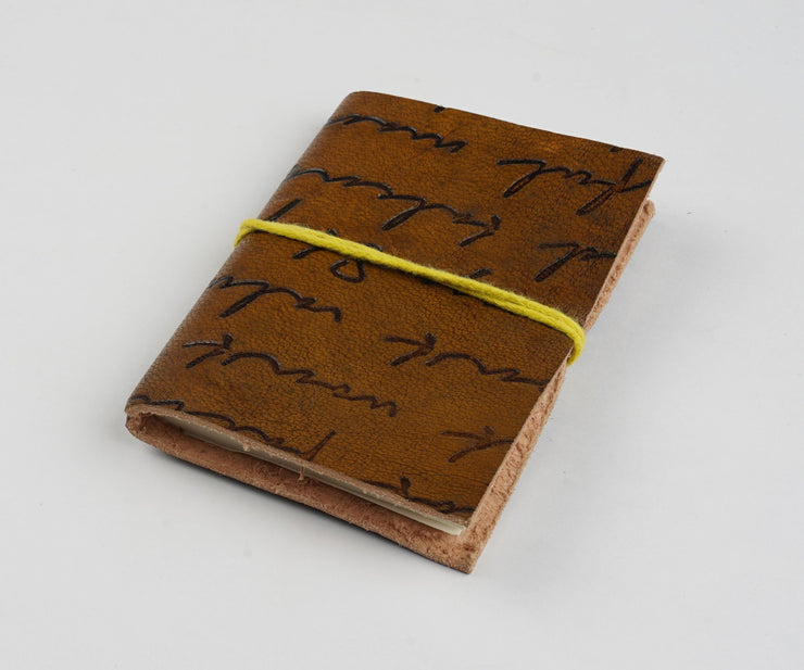 Papa Taka Notebooks Mini Hand Made Vintage Leather Gorgeous Peacock Embossed Journal psr silks Nesavu PNJ090A