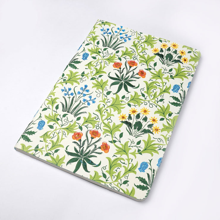 Mughal Floral Motif Printed Embroidered Hand Made Journal Notebook - thenesavu