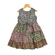Multi Colour Floral Patched Girls Cotton Casual Wear Frock Dress - thenesavu