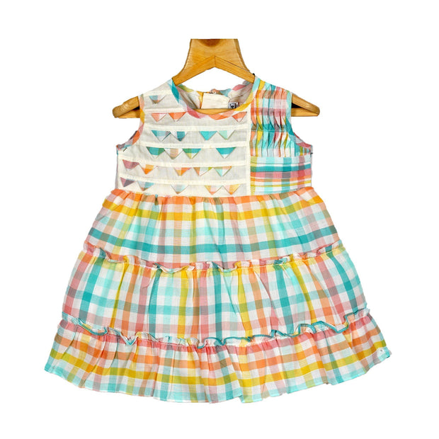 The Nesavu Frocks & Dresses Multicolour Gingham Checkered Baby Girls Cotton Checked Casual Wear Frock psr silks Nesavu 10 / MULTICOLOUR KGC4