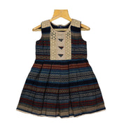 Navy Blue Net Embroidered Bib Yoke Girls Rayon Cotton Daily Wear Dress - thenesavu