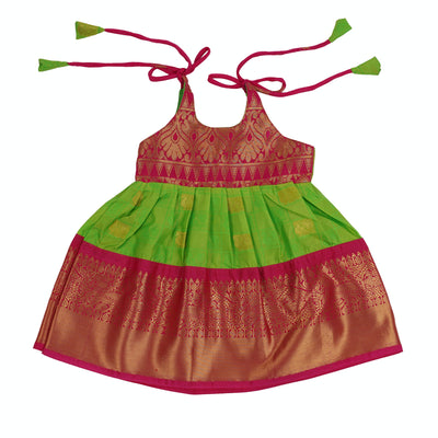 The Nesavu Frocks & Dresses Nesavu Newborn Silk Tie up Pattu Frocks for Babies psr silks Nesavu Style1 / S GFC042A