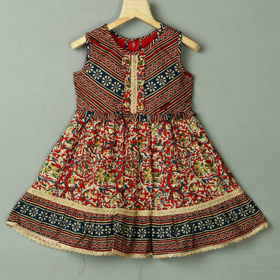 New Kalamkari Cotton Casual Daily Wear Dress For Girls - thenesavu