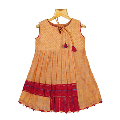 Orange Chanderi Silk Cotton Casual Wear A-Line Frock Dress - thenesavu