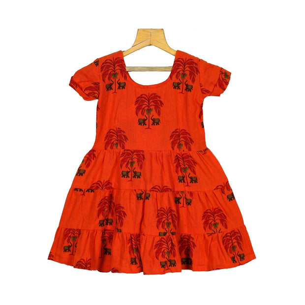 Orange Indian Traditional Hand Block Printed Girls Cotton Casual Dress - thenesavu