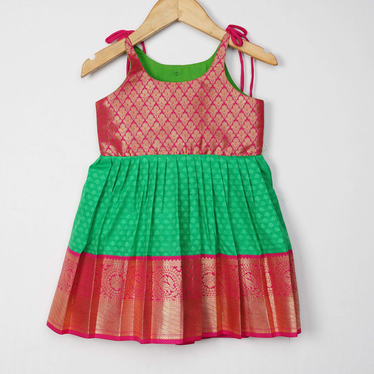 The Nesavu Frocks & Dresses Parrot Green Soft Silk Pattu Frock for Kids Little Girl psr silks Nesavu Size 12 / Style 1 GFC180C