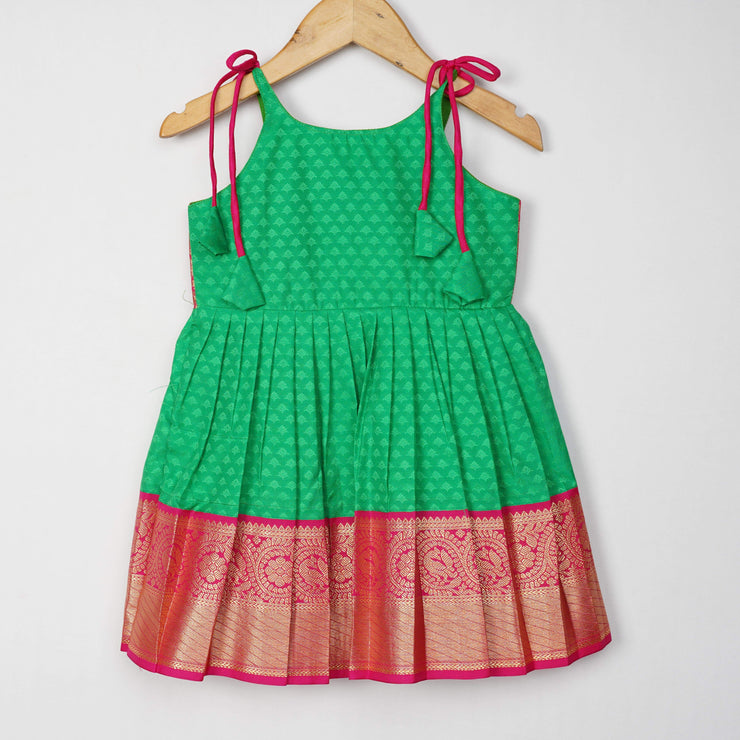 The Nesavu Frocks & Dresses Parrot Green Soft Silk Pattu Frock for Kids Little Girl psr silks Nesavu