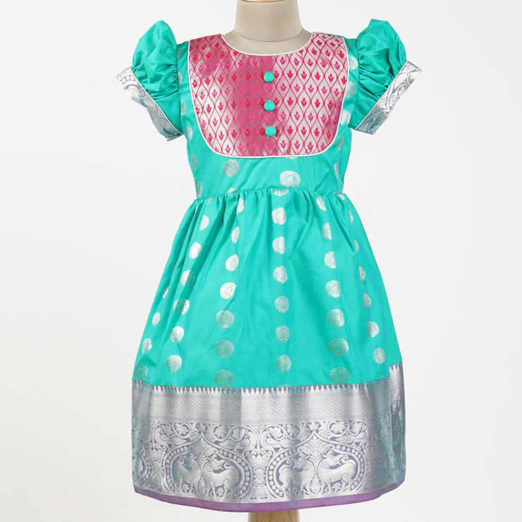 The Nesavu Pattu Frocks / Pattu Gown Party Wear Kids Frock Made from Saree psr silks Nesavu 1Y-2Y / turquoise GFC191A