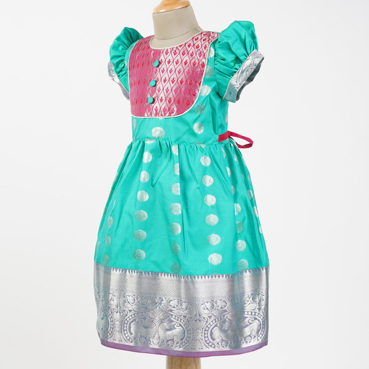 The Nesavu Pattu Frocks / Pattu Gown Party Wear Kids Frock Made from Saree psr silks Nesavu