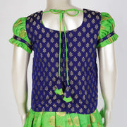 Pattu Pavadai for Girls in Mandala Motif and Butti Top in Blue / Green Combo - thenesavu