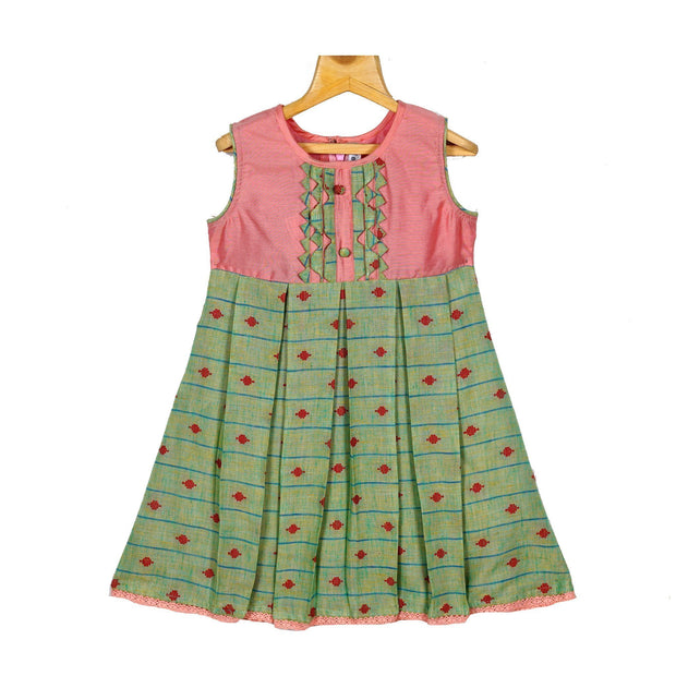 Pink Green Rayon Cotton Hand Woven Dobby Girls Casual Wear Dress - thenesavu