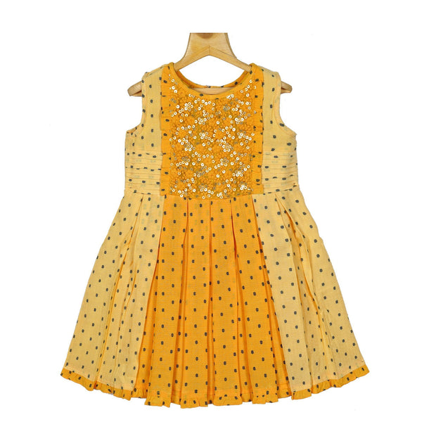 Pleated Sequence Embroidered Yoke Designer Girls Cotton Casual Dress - thenesavu