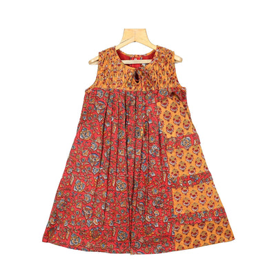The Nesavu Frocks & Dresses Pleated Yoke Kalamkari Cotton Girl Traditional Casual Wear Frock psr silks Nesavu 18 / yellow / Cotton KGC1
