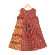 Pleated Yoke Kalamkari Cotton Girl Traditional Casual Wear Frock - thenesavu