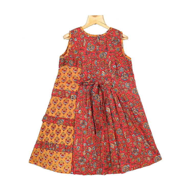The Nesavu Frocks & Dresses Pleated Yoke Kalamkari Cotton Girl Traditional Casual Wear Frock psr silks Nesavu