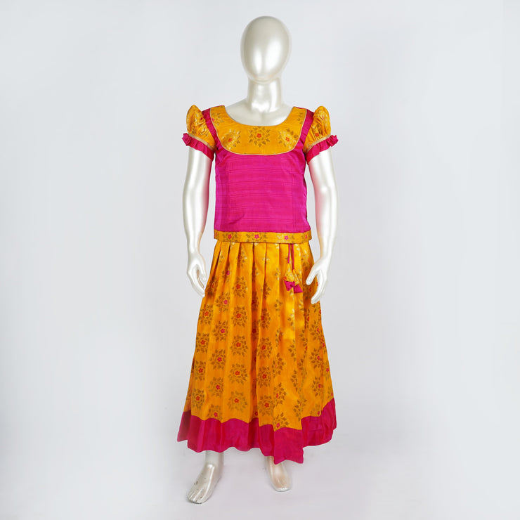 The Nesavu Pattu Pavadai Premium Banaras Pattu Pavadai Lehenga Mango Yellow / Pink With Cute Puff Sleeve psr silks Nesavu