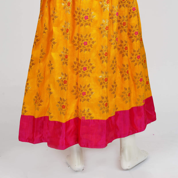 Premium Banaras Pattu Pavadai Lehenga Mango Yellow / Pink With Cute Puff Sleeve - thenesavu